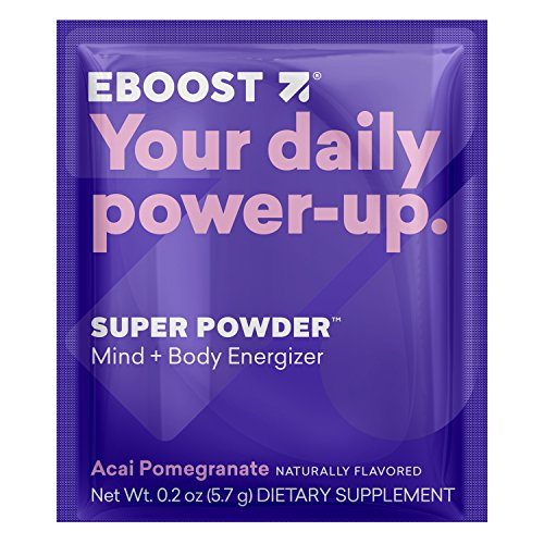 EBOOST Super Energy Powder Drink Mix, Non-GMO Electrolyte Supplement Loaded with Vitamins, Minerals and Antioxidant for Men & Women, 20 Count (Acai Pomegranate)