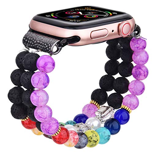 CAGOS Bracelet Beadeds Compatible with Apple Watch Band 42mm/44mm Series SE/6/5/4/3/2/1 Cute Handmade Fashion Elastic Stretch Beaded Strap Replacement with Stainless Steel Adapter for iWatch Black