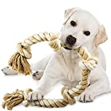 TwoEar Dog Rope Toys for Aggressive Chewers, Tough 3 Feet 5 Knots Dog Chew Toys Natural Cotton Indestructible Heavy Duty Dog Toy for Medium and Large Dog Breed