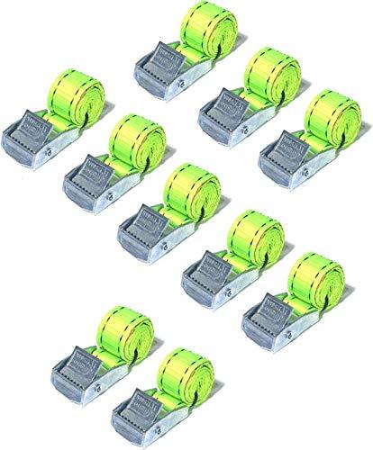 JUMBO Spanband 10 pack, 25mm, 50cm, Geel met klemgesp, TUV gecertificeerd, conform EN-12195-2