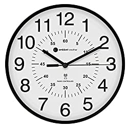 Ambient Weather RC-1200WBDN 12 Atomic Radio Controlled Wall Clock, White/Black with Inner Minute Markers