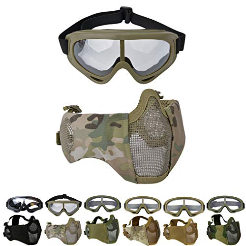 Outgeek Airsoft Mask, Lower Steel Mesh Mask Protective Half Face Mask UV Protection Glasses Comfortable and Cool Mask Goggles Set for Adult Men Women Children (Camouflage)