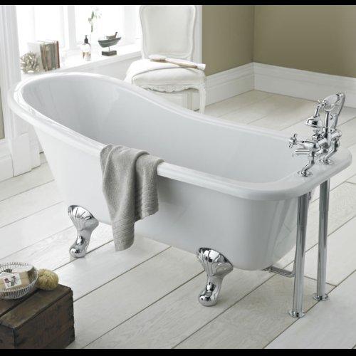 Hudson Reed Freistehende Badewanne Wanne Standbadewanne Kensington mit Füßen - Höhe 730 mm x Länge: 1700 mm - Lucite Acryl - Weiß