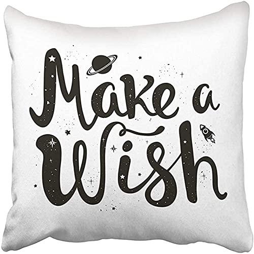 Throw Pillow Cover Poliéster 18X18 Pulgadas Saturno Nave Espacial Estrellas y Letras Cita Pide un Deseo Magia Infantil inspiradora