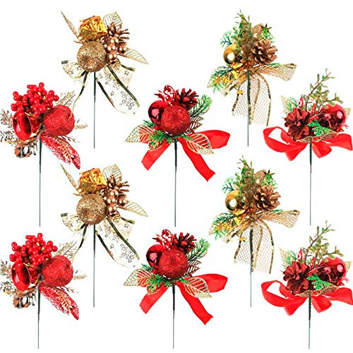 CEWOR 10 Pack Christmas Picks Artificial Floral Picks for Holiday Party Home, Christmas Tree Wreath Decorations, 5 Styles in Red and Gold
