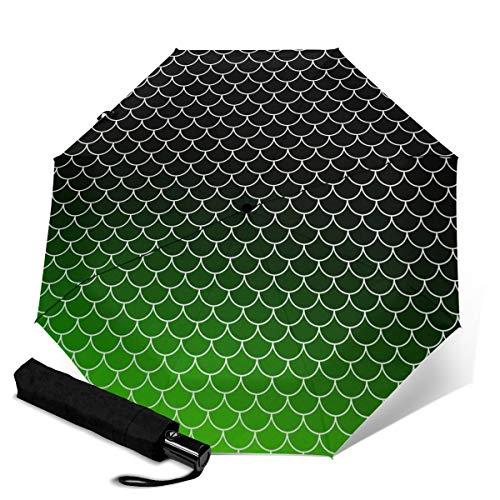 Paraguas de techo verde impermeable a prueba de viento con protección UV automático, triple plegado para viajes, paraguas plegable para hombres y mujeres