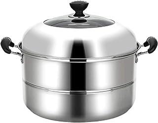 Olla de vapor de acero inoxidable, cocina de inducción para el hogar, de 2 niveles, 36 cm, parte inferior compuesta, espesada, antiadherente, antiadherente, de acero inoxidable