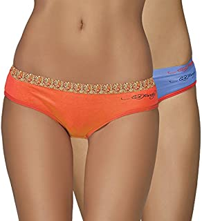 Ed Hardy, Women Mid Waist Printed Outer Elastic Panty !!! Pack of 2 Panties !!! Available in Different Vibrant Colours