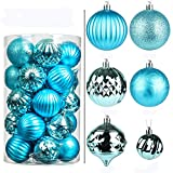 1.97in/2.75in Christmas Balls Ornaments Set Festival Home Party Decors Xmas Tree Hanging Decorative Baubles Tree Ornaments Hooks 31pcs Blue