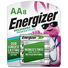 8 pack of Energizer Recharge Power Plus 2300 mAh NiMH AA rechargeable batteries, pre charged and ready to use The World's 1st rechargeable AA battery made with 4% recycled batteries Delivers long lasting power to frequently used devices, like digital...