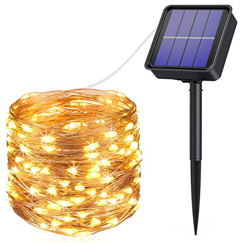AMIR Solar String Lights, 33ft 100 LED Outdoor String Lights, 8 Lighting Modes Waterproof Solar Decoration Lights for Gardens, Home,Wedding, Party, Christmas (Warm White + White)