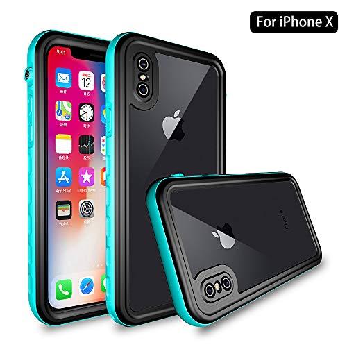 NewTsie Funda Impermeable iPhone X/XS, Anti-rasguños Impermeable Carcasa Funda Case con Protector de Pantalla Submarino Caso para iPhone X/iPhone XS (5.8 Inch) (T-Azul)