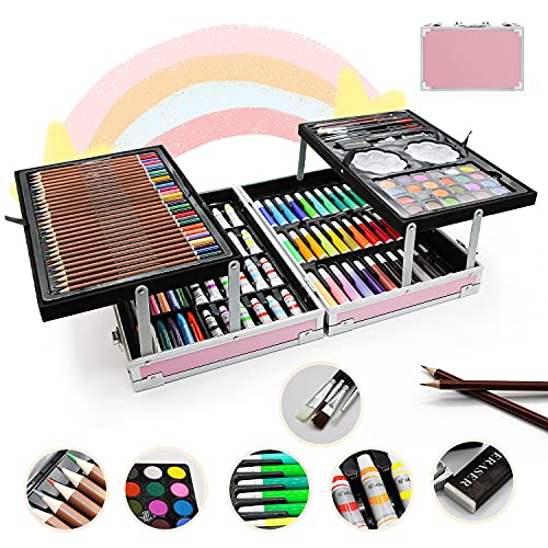 Art Supplies,150-Pack Deluxe Art Set Crafts Drawing Painting Kit, Portable Art Case Gift for Adults Artists Beginners Girls Boys Kids 7-9-12,with Crayons, Oil Pastels, Colored Pencils ect.
