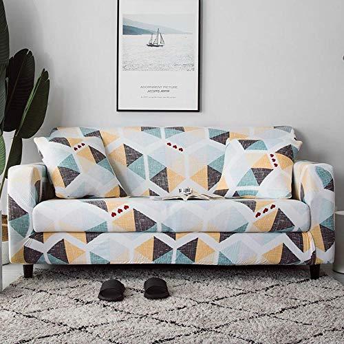 KOLIU Funda de sofá elástica para Sala de Estar, Funda de sofá en Forma de L Funda de sillón Individual/Dos/Tres Asientos-Multi Geométrico_1 Asiento 90-140 cm_China