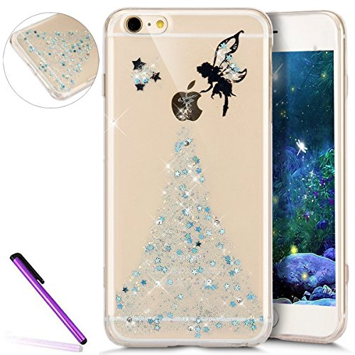 EMAXELERS Funda iPhone 8 Plus Ligera Silicona Suave TPU Gel Bumper Cover de Protección Antideslizante Caso para iPhone 7 Plus + 1 Pcs Tempered Glass Screen Protector Blue Fairy
