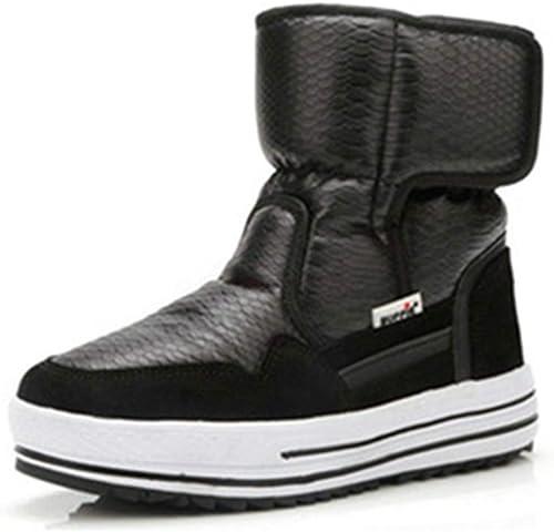ZHRUI botas mujer botas Antideslizantes Resistentes al Agua Moda Femenina botas de Piel cálidas de Invierno (Color   negro, tamaño   3.5=36 EU)
