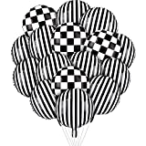 16 Pieces Black White Foil Balloon Set Includes Black White Striped Lattice Aluminum Foil Helium Balloons for Racing Car, Dirt Bike, Motocross Themed Party Decoration Supply, 18 Inches