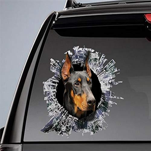 DONL9BAUER Auto-Aufkleber Dobermann Hund Vinyl Auto Scratch Cover 3D Aufkleber Fenster Aufkleber für Laptop Reise Fall Tumbler Tür Stoßstange Gepäck