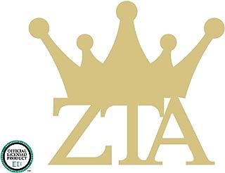 Zeta Tau Alpha Crown Cutout Unfinished Wood Door Hanger ZTA Sorority Greek MDF Shape Canvas Style 1 (12