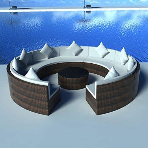 Lingjiushopping Set canapé jardin circulaire 37 pièces polyrotin modulaire marron Couleur du coussin : Blanc crème Ensemble de meubles d'extérieur