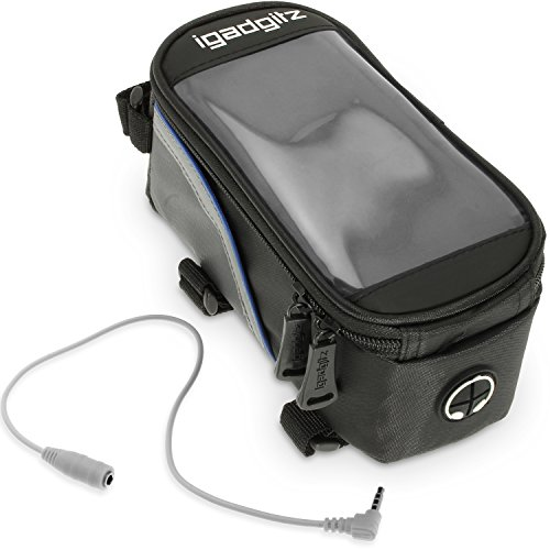 iGadgitz Small Black Reflective Strip Water Resistant Front Top Tube Pannier Bike Frame Storage Bag with Mobile Phone, iPod, MP3, GPS Holder