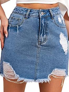 MakeMeChic Women s Raw Hem Ripped Pocket High Waist Denim Mini Skirt Blue M
