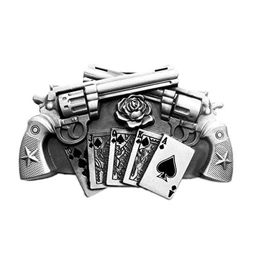 eeddoo® Gürtelschnalle - Guns & Royal Flush silber (Buckle für Wechselgürtel für Damen und Herren | Belt Frauen Männer Oldschool Rockabilly Metall Gothic Wave Rock Biker Western Trucker Casino Skull)