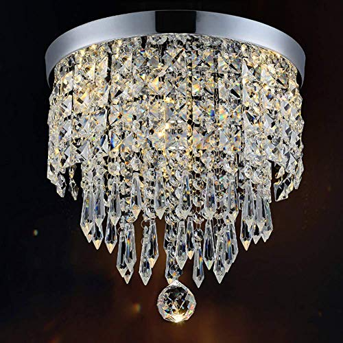 Discount4product Crystal Glass Chandelier for Living Room Ceiling Light (1 Led Light 2 watt) (Warm White, 9 inch Width)