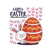 TAMRG グラフィティウォールステッカー 幸せな漫画のウサギの 33CMX28CM イースターエッグウォールステッカー 家の装飾 取り外し可能なDIYデカール 壁、窓用の装飾、寝室、居間用の装飾