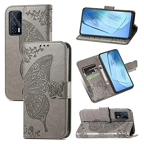 Funda de cuero para Apple iPhone 6S 6 Flip Cover lindo patrón diseño tarjeta titular ranura silicona 360 grado protector piel Shell para niñas niños - gris mariposa