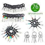 Terminal Removal Tool, 76PCS 52 Sizes Economical Terminal Release Kits for Auto Car Wire Connector, Pin Extractors Key Set for Household Harness, Stainless Steel Rubberized Grips Terminal Ejector Kits