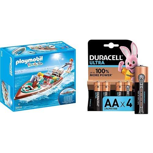 Playmobil - Lancha Motor Submarino Juguete, Multicolor (geobra Brandstätter 9428) + Duracell Ultra AA con Powerchek, Pilas Alcalinas, Paquete de 4, 1.5 Voltios LR06 MX1500