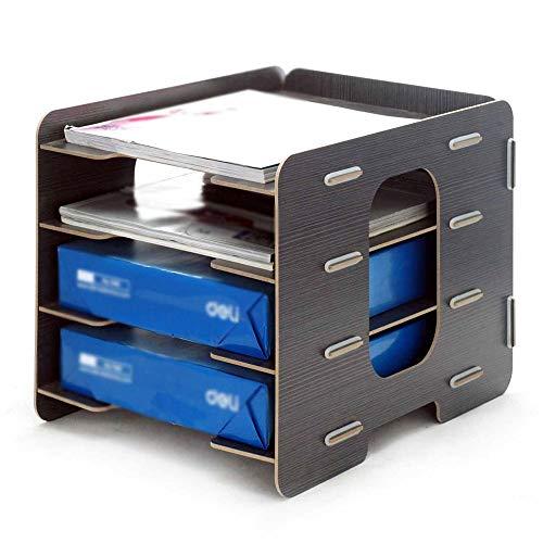 Ablagefächer Multi-Grid-Aktenhalter Bill Express Single Storage Rack Einsteckbares Desktop-Aktenregal aus Holz Organisatoren für Schreibtischbedarf (Color : A, Size : 33x25x25cm)