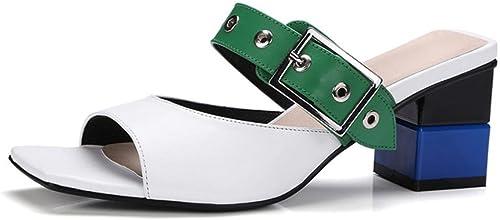 Pantoufles mot d'été femme usure extérieure extérieure extérieure épaisse avec des sandales à talons hauts et pantoufles , blanc , US6   EU36   UK4   CN36 122
