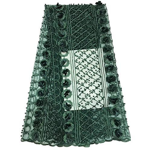 Tela de encaje de red africana para velo, manualidades y costura bordada, sintético, verde, 10 años
