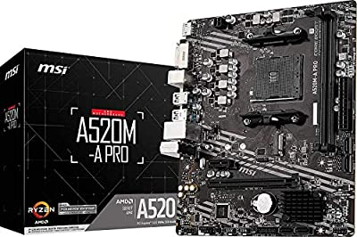MSI A520M-A PRO Gaming Motherboard (AMD AM4, DDR4, PCIe 4.0, SATA 6Gb/s, Dual M.2, USB 3.2 Gen 1, DVI/HDMI, Micro-ATX)