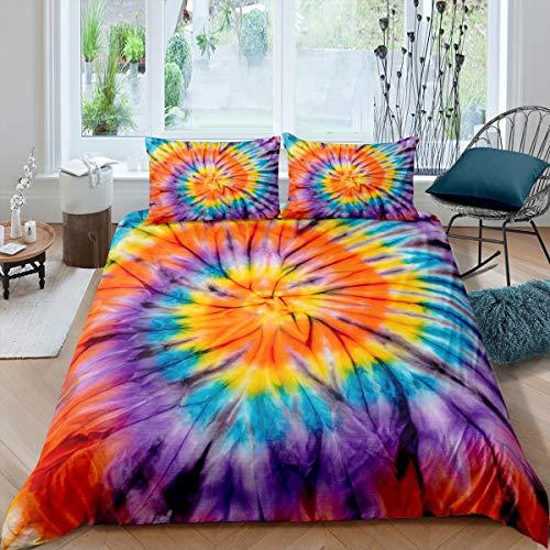 Loussiesd Juego de ropa de cama con estampado bohemio psicodélico Swirl para niños, niñas, hippie, bohemio, gypsy, 2 piezas, con cremallera, 135 x 200 cm