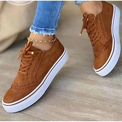 Mikowoo Women's Low-Cut Sneaker Canvas Flat Shoes Women Casual Shoes Summer Autumn Sneakers Walking Running Shoes,Marrón,35