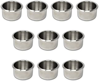 Da Vinci Lot of 10 Drop in Stainless Steel Poker Table Jumbo Cup Holders 4 Inch Wide