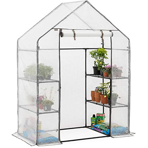 CHRISTOW Walk In Greenhouse With Shelves, Large Reinforced Green House With Tubular Steel Frame, 4 Shelf Heavy Duty Growhouse, 6ft 4in x 4ft 7in x 2ft 4in