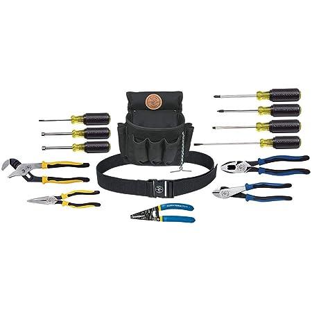Klein Tools 92914 Kit de herramientas, juego de herramientas incluye herramientas básicas, bolsa y cinturón para periodistas, linesistas, profesionales y propietarios de casa, 14 piezas