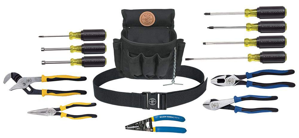 Klein Tools 92914 Tool Kit, 14Piece Tool Set includes Basic Tools, Pouch & Belt For Journeyman, Linesman, Professionals & Homeowners