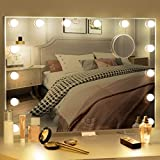 BESTOPE Vanity Mirror with Lights Hollywood Mirror Lighted Vanity Mirror for Bedroom,USB A and USB C Outlet with Phone Holder,24x20 Inch,Touch Control,Sturdy Metal Frame Design