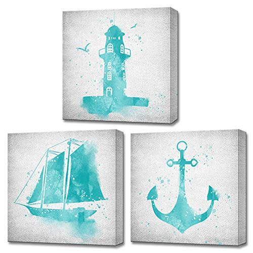 LoveHouse 3 Piece Wall Art for Boy Bedroom Blue Nautical Decorative Sailboat Lighthouse Anchor Watercolor Painting Picture Modern Home Decor Stretched and Framed Ready to Hang 12'x12'x3 Panels