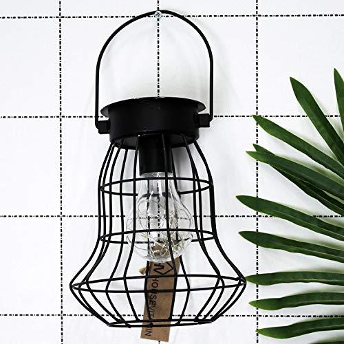 Housevitamin LED solar lantaarn/buitenlamp - zwart metaal - 18cm hoog