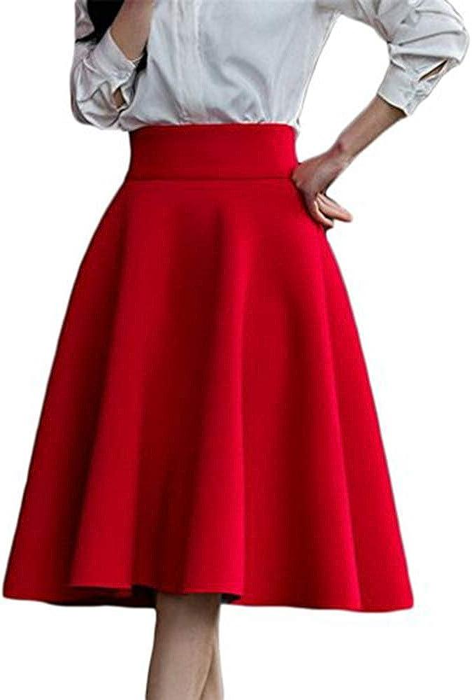 AOMEI Women's High Waist Knee Length A-line Skirt