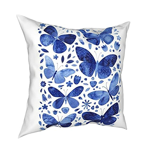 HGVVV Blue Watercolor Butterflies Polyester Pillow CasePillow Cushion Gift Decor 20'x20'