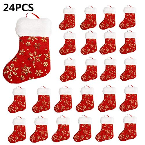 Cheapest Price! POP-STYLE Christmas Stockings 12/24pcs Classic Hanging Christmas Plush Socks Gift St...