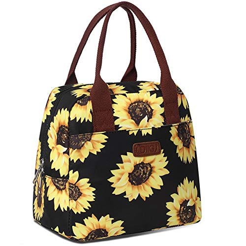 DIIG Lunch Box for Women Insulated Lunch Bags for Women Large Cooler Tote For Work Floral Reusable Snack Bag with Pocket Sunflower PrintingGrayBlackWhite SunflowerBlack