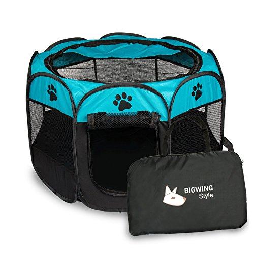 BIGWING Style Recinzione per Cuccioli Recinto Grande per Animali da Usare all'Interno e all'Esterno- Facile da Montare Blu L